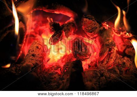 hot embers - abstract natural background