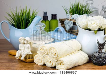Bath accessories. Personal hygiene items. Bathroom setting.