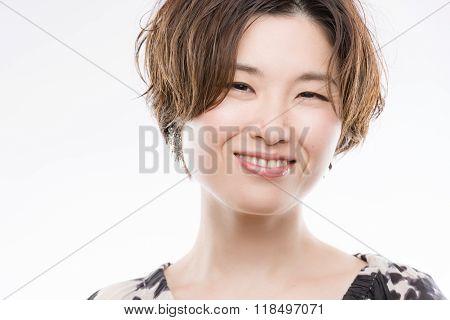Bright Smiling Japanese Woman Portrait