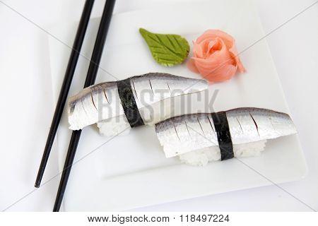 Nigiri Sardinela Sushi. Traditional Japanese Food
