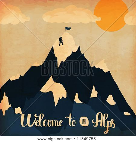 Vintage handlettering poster on the theme of winter tourism. Landscape mountains welcome to the Alps