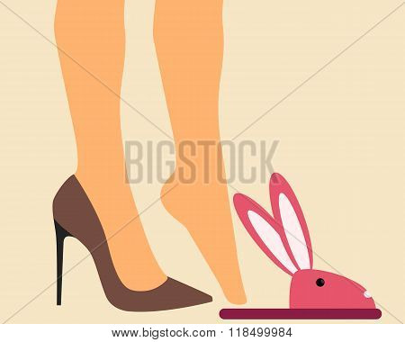 Business Woman takes off shoes at home after work. Vector illustration