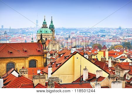 Town Panorama Prague And Malostranske Namesti