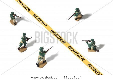Toy Army Men with Conflict at Border