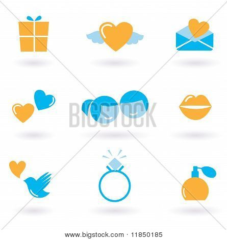 Valentine's day and Love icon collection - orange and blue