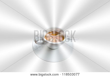 Cup Of Coffee On Abstract Silver Background.