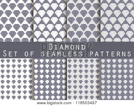 Jewelry. Set Of Seamless Patterns With Diamonds. Black And White Color. The Faceted Diamond. The Pat