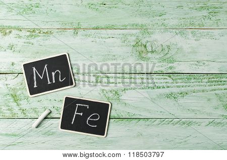 Wooden Background With Tablets, Minerals Of Mn And Fe