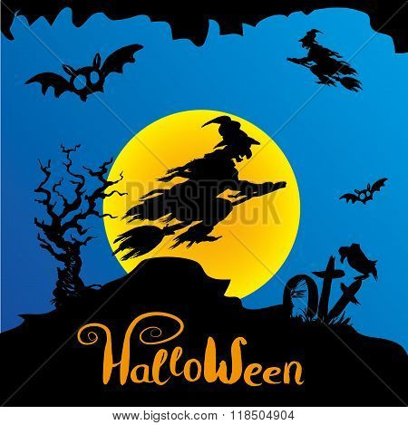 Halloween witch flying on broomstick, scary Halloween background. Hand drawn vector