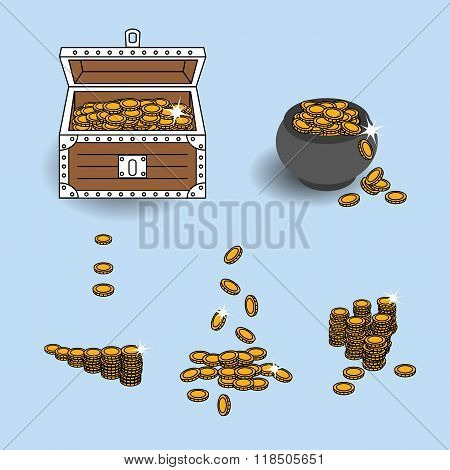 Vector EPS10 illustration gold coins placed into treasure chest, treasure pot and used separately in