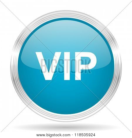 vip blue glossy metallic circle modern web icon on white background