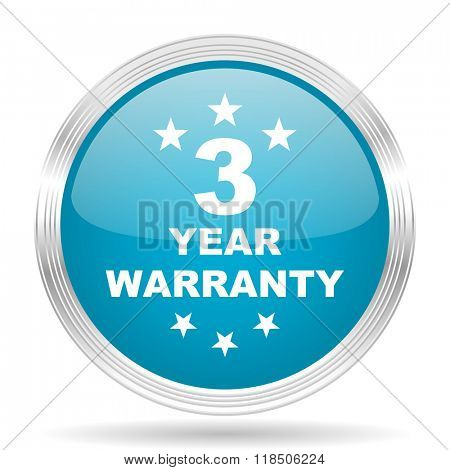 warranty guarantee 3 year blue glossy metallic circle modern web icon on white background