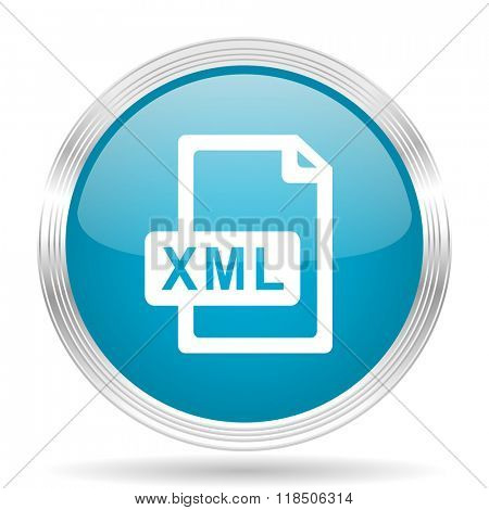 xml file blue glossy metallic circle modern web icon on white background