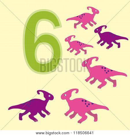 Number 6. Six Dinosaur (parasaurolophus) .