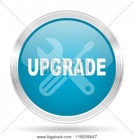 upgrade blue glossy metallic circle modern web icon on white background