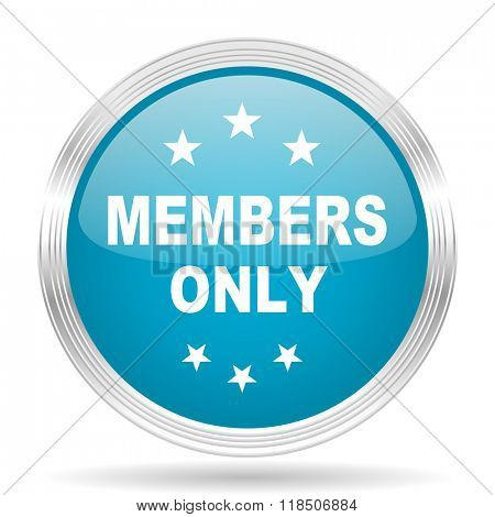 members only blue glossy metallic circle modern web icon on white background