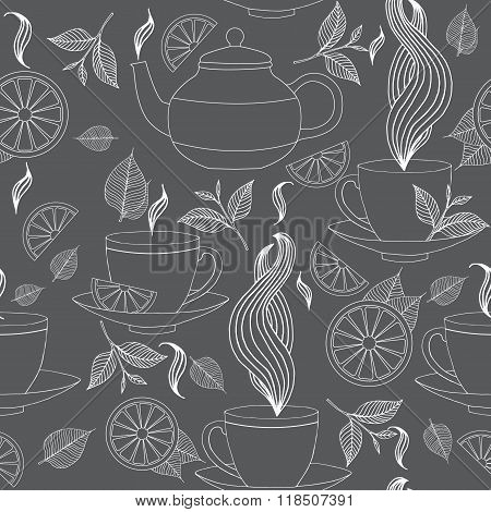 Tea Time Seamless Pattern With Hand Drawn Doodle Elements. Monochrome Breakfast Seamless  Pattern Wi