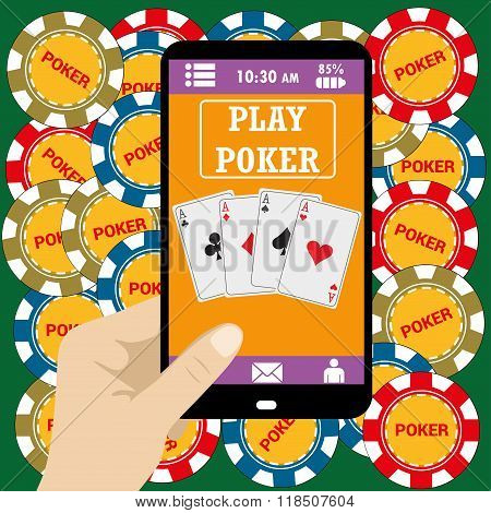 Online poker app  on tablet touch screen,