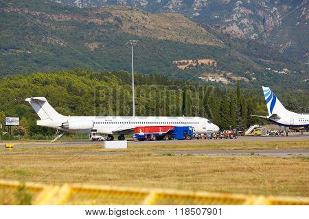 Tivat, Montenegro - August 8, 2015 : Airplanes Preparing To Flight In Tivat International Airport.