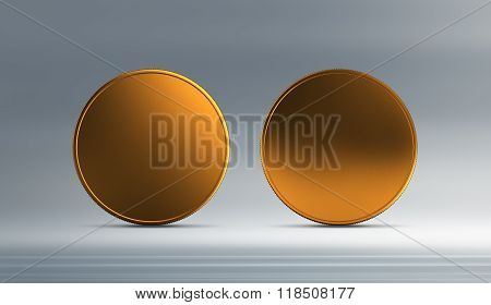Front And Back Gold Coin With Background