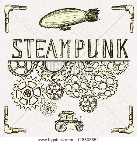 Steampunk background, gear, vintage car and airship