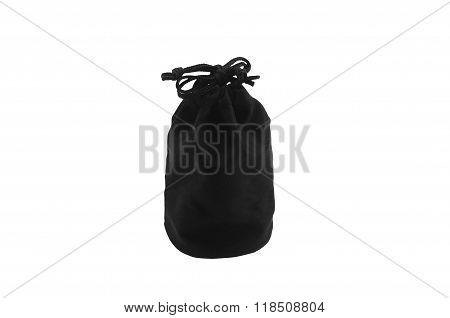 Black bag pouch velvet material isolated on white background.