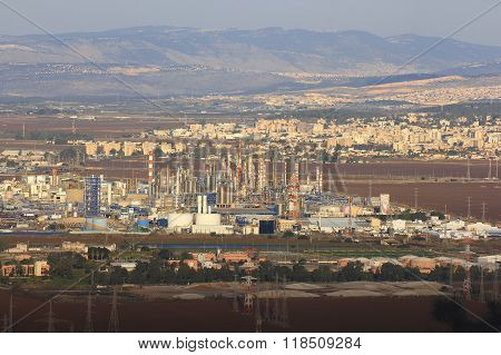 Factories In Haifa Bay, Israel