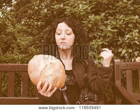 Girl Eating Bread Vintage