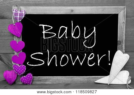 Black And White Blackbord, Purple Hearts, Baby Shower