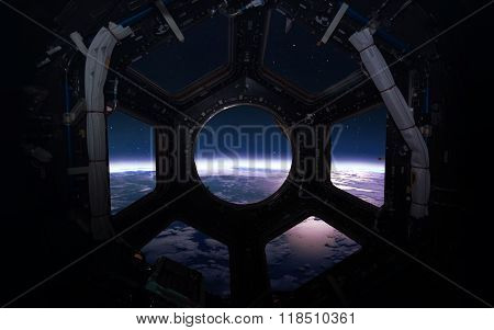 Earth - Beauty of solar system planet in spaceship window porthole. Elements of this image furnished