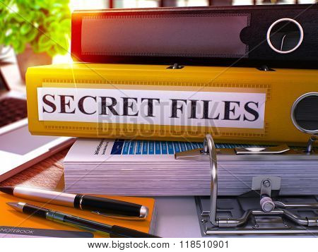 Yellow Office Folder with Inscription Secret Files.