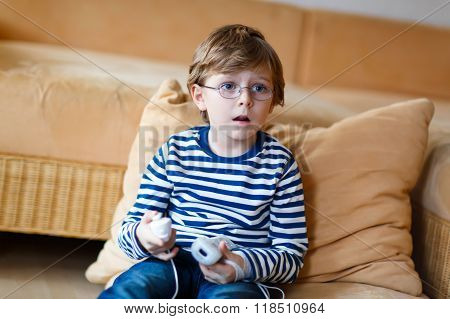 Little Kid Boy Playing Video Game Console