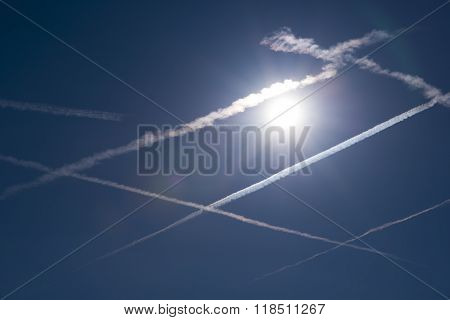 Traces Of Contrails In The Sky