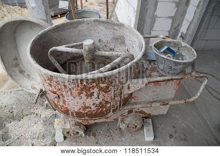 Cement Concrete Mixer At Construction Site