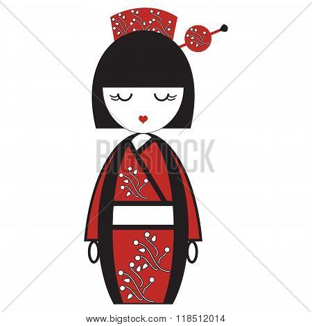 Oriental Japanese geisha  doll with kimono with oriental flowers and  stick with round element inspi