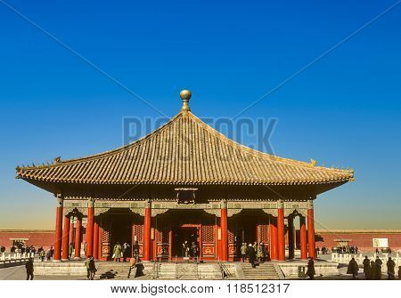 Chinese Peole Visit The Forbidden City In Beijing, China
