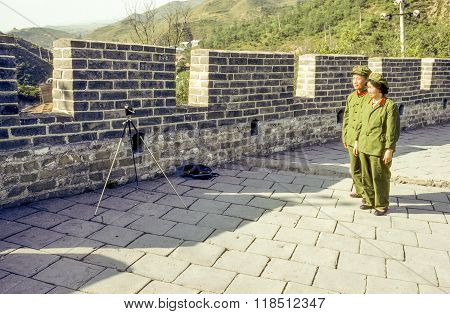 Chinese People Do A Self Portrait At The Chinese Wall In Badaling