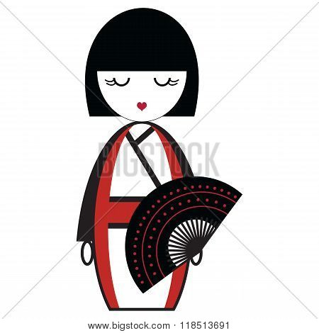 PrintOriental Japanese geisha  doll with kimono with orinetal fan element inspired by traditional ja