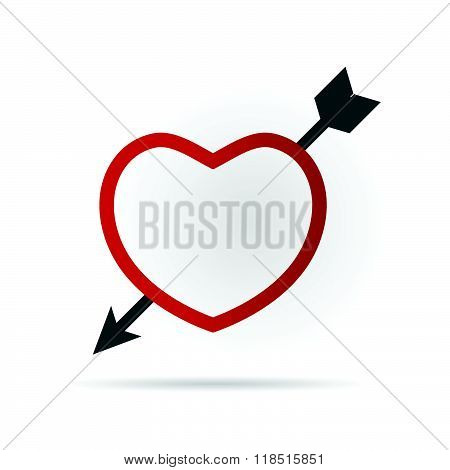 Heart Red With Arrow Illustration