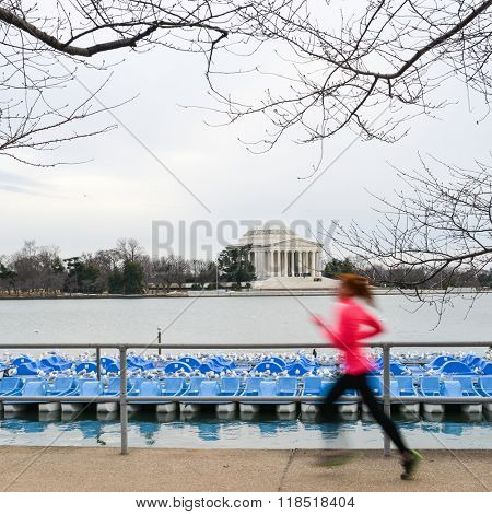 Washington DC - A runner in motion blur with Jefferson Memorial background
