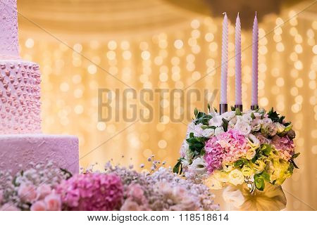 Wedding Candlestick With Flower Decoration Before Wedding Ceremony