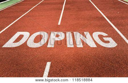 Doping written on running track