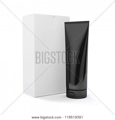 3d tube for cosmetics on white background
