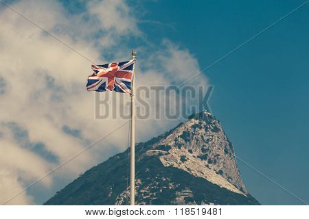 The Flag Of The United Kingdom And The Rock Of Gibraltar