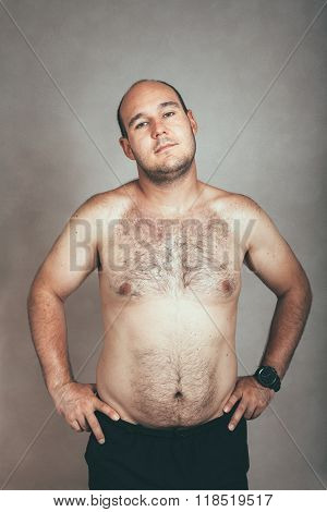 Corpulent Hairy Shirtless Man