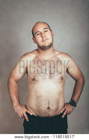 Corpulent Hairy Shirtless Man