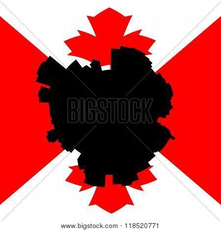 Edmonton circular skyline with Canadian flag illustration