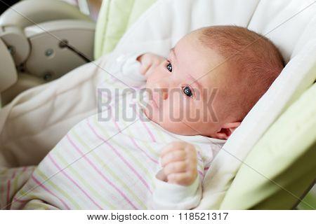 Portrait Of A Newborn Girl In A Highchair