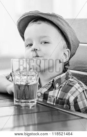 Portrait Of Happy Little Boy Drinking  Juice
