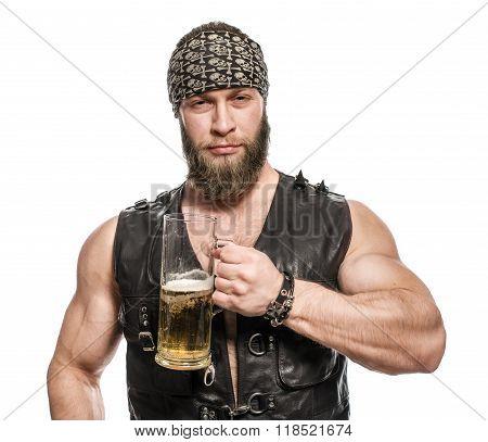 Beard Man Drinking Beer From A Beer Mug.